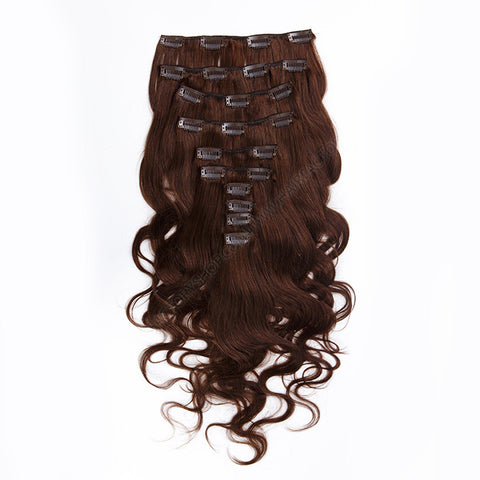 CLIP IN HAIR EXTENSIONS 100% REMY Hair Body Wave #4 Chocolate