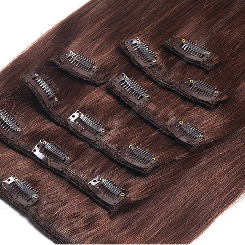 CLIP IN HAIR EXTENSIONS 100% REMY Hair Straight #4 Chocolate