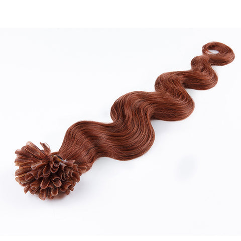 FUSION HAIR EXTENSIONS 100% REMY Hair Body Wave #33 Auburn