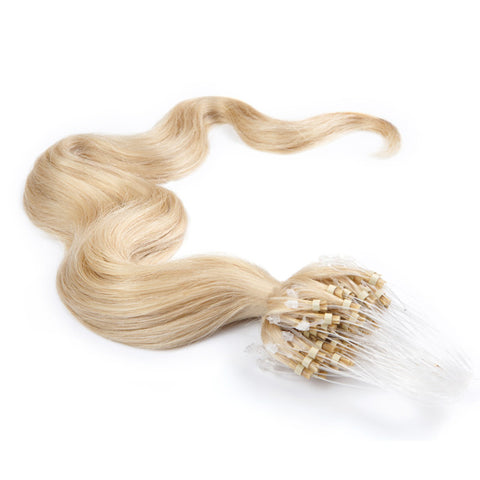 MICRO LOOP HAIR EXTENSIONS 100% REMY Hair Body Wave #613 Platinum Blonde