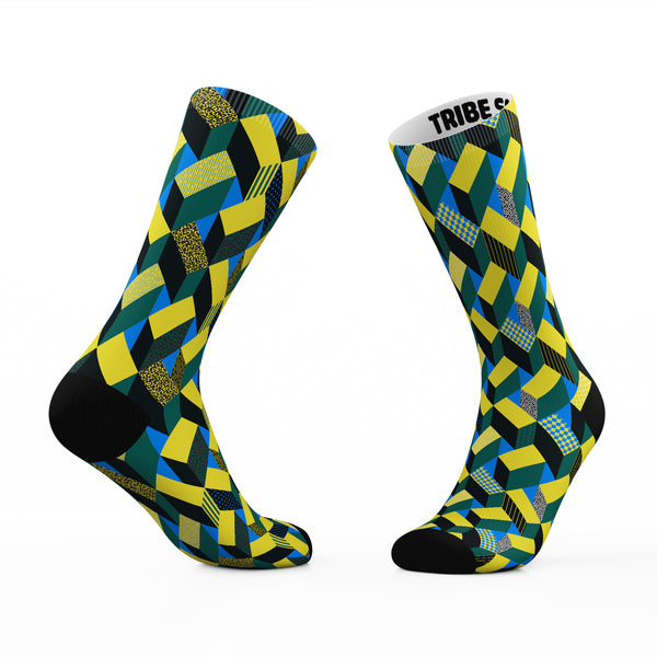 Geometric Yellow Stairway Socks