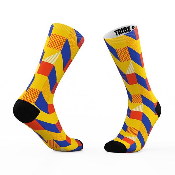Geometric Checkers Socks