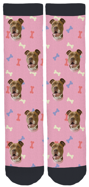 Hazel the Pitbull Pink Socks