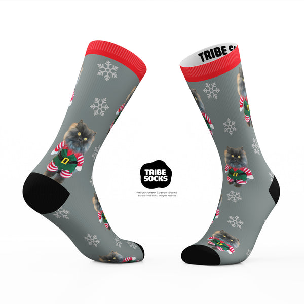 Grey Bobbie Holiday Socks