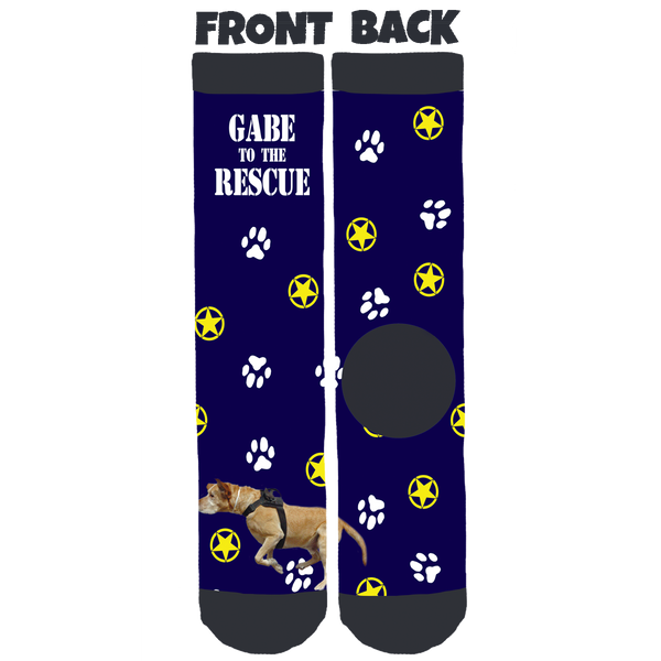 Gabe to the Rescue Blue Crew Socks