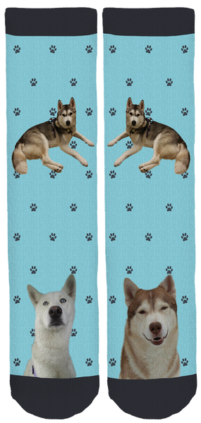 Limited Edition Hairy Houdini Siberian Husky Rescue Crew Socks