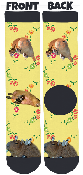 JoeJoe the Capybara Yellow Spring Crew Socks