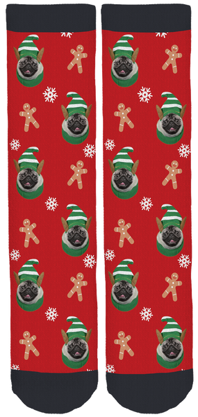 Lil' Pickles Da Pug Holiday Crew Socks