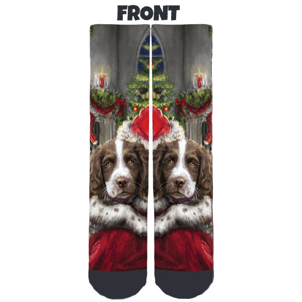 Liver/White English Springer Rescue America Holidays Crew Socks