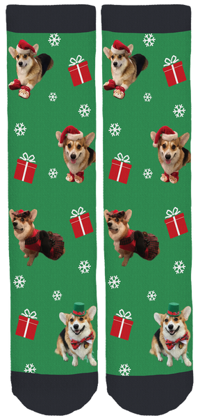 Peanut the Corgi Holidays Crew Socks