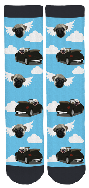 Pug Rides Shotgun Clouds Crew Socks