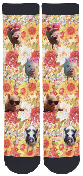 Abby The Pink Piggy Spring Crew Socks Floral
