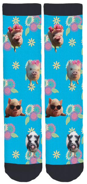 Abby The Pink Piggy Spring Crew Socks Blue