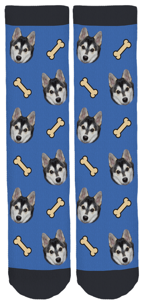 Blue Zeus the Pomsky Crew Socks