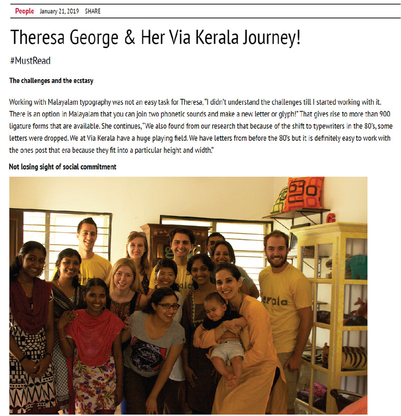 People, 2019.January -Theresa George & Her Via Kerala Journey!