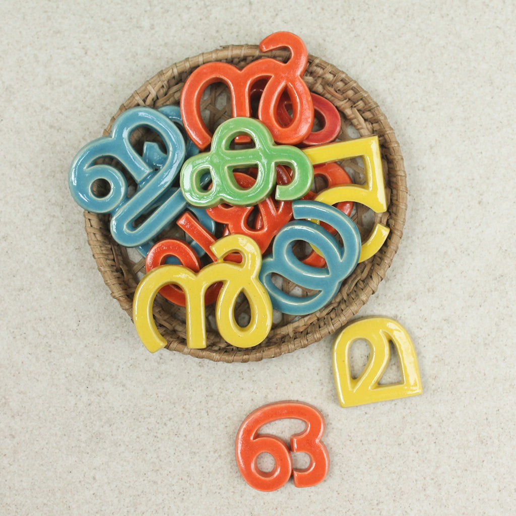 Handmade Ceramic Letters - Malayalam Alphabet Ya - Assorted Colours