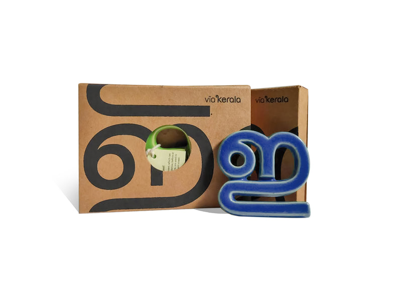 Handmade Ceramic Letters - Malayalam Alphabet Ee - Assorted Colours