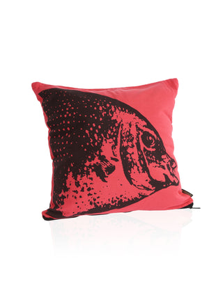 Heads or Tails - Fish Cushion Cover - Deep Red