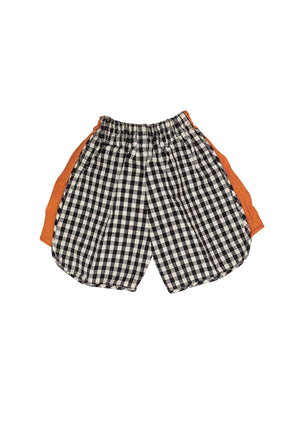 Black & White Checked Kids Shorts with colored side pannel.