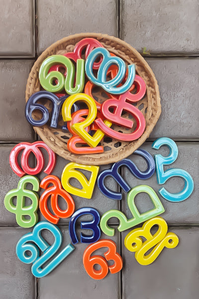 Handmade Ceramic Letters - Malayalam Alphabet Jha - Assorted Colours