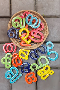 Handmade Ceramic Letters - Malayalam Alphabet Oo - Assorted Colours