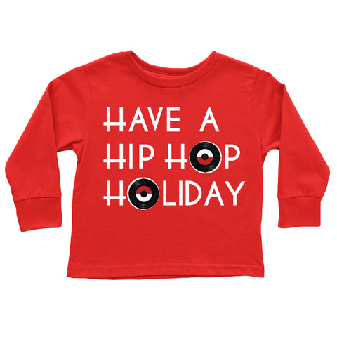 Hip Kid Apparel Have a Hip Hop Holiday Christmas Red Tee Shirt - Kids Holiday Christmas Graphic Tee