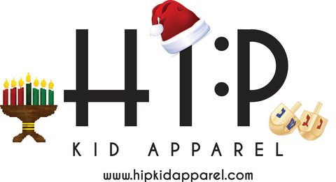 Hip Kid Apparel Happy Holidays - Christmas Santa Hat - Chanukah Dreidels - Kwanzaa