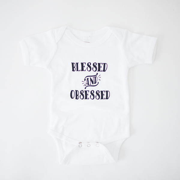Blessed and Obsessed Bodysuit - White bodysuit Black Ink-Bodysuit-Hip Kid Apparel-kids graphic t-shirts-kids graphic tees-modern kids clothes-trendy shirts for kids-unisex kids shirts-for-boys-girls