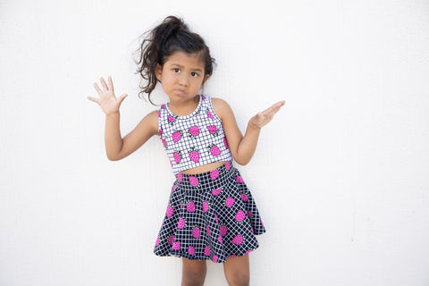 Girls Strawberry Skirt - BLACK GRID