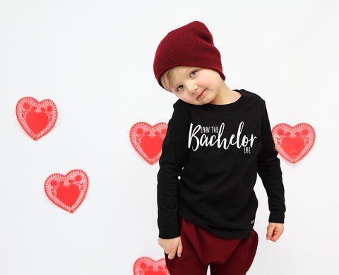 Livin' the Bachelor Life -  PREORDER - Toddler Boy Valentine Shirt - LONG Sleeves