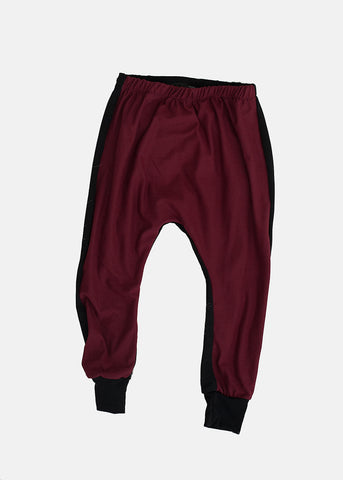 Burgundy Harem Pants - Black on the Back Side