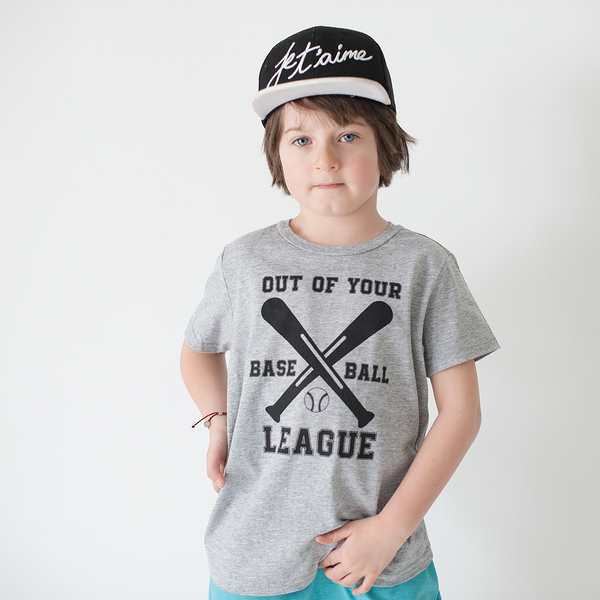 Out of your League - Baseball Tee Shirt-Tee Shirts-Hip Kid Apparel-kids graphic t-shirts-kids graphic tees-modern kids clothes-trendy shirts for kids-unisex kids shirts-for-boys-girls