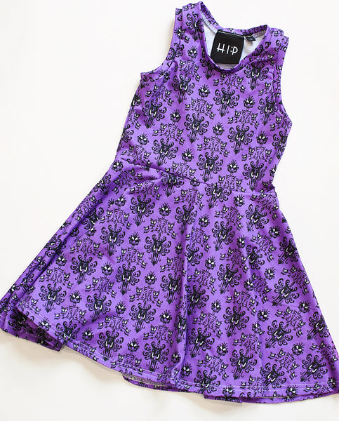 Haunted Mansion Purple Halloween Skater Dress