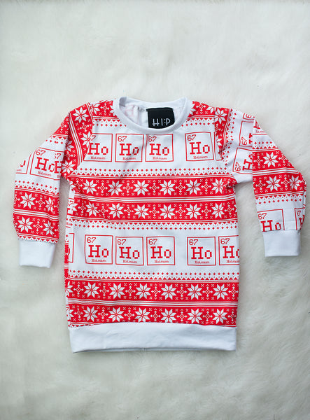Ho Ho Ho Ugly Christmas Sweater - Red and White Toddler/Youth Pullover