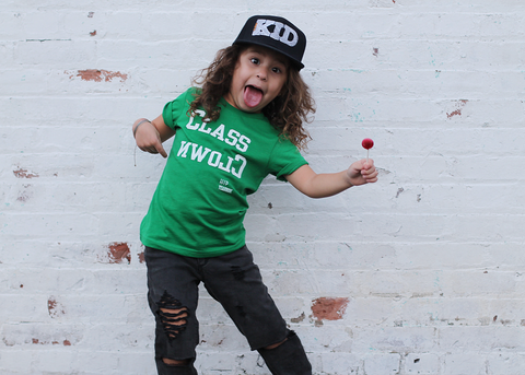 Class Clown - Green Kids Tee Shirt-Tee Shirts-Hip Kid Apparel-kids graphic t-shirts-kids graphic tees-modern kids clothes-trendy shirts for kids-unisex kids shirts-for-boys-girls