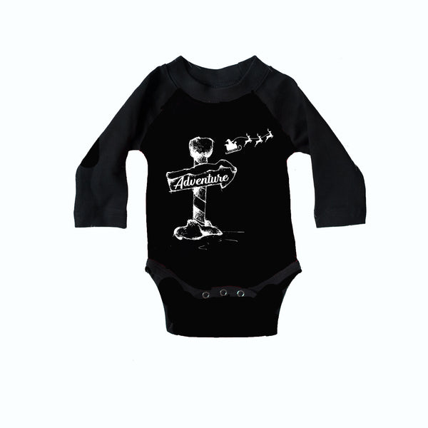 Santa Christmas Adventure Long Sleeve Infant Bodysuit *PREORDER - Toddler Christmas Black Long Sleeve Infant Bodysuit