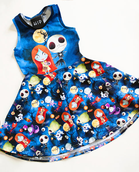 Jack and Sally Halloween Skater Dress