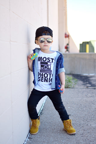 Most Photogenic - PREORDER - White and Black Monochrome Kids Tee Shirt