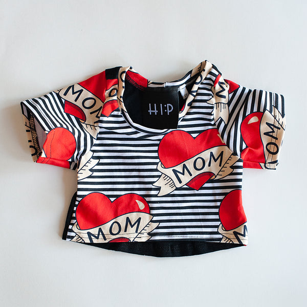 RTS Mom Valentine Crop Top (solid black on back) - Size 2t