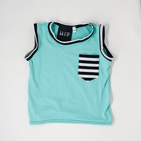 Mint Tank with Striped pocket accents