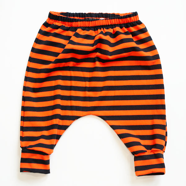 Halloween Black and Orange Striped Harem Shorts - 4t