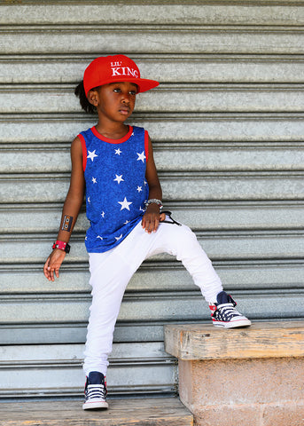 Bright Blue Star Tank Top-Bottoms-Hip Kid Apparel-kids graphic t-shirts-kids graphic tees-modern kids clothes-trendy shirts for kids-unisex kids shirts-for-boys-girls