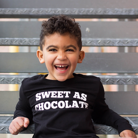 Sweet As Chocolate - Long Sleeved Easter Kids Top-Hip Kid Apparel-kids graphic t-shirts-kids graphic tees-modern kids clothes-trendy shirts for kids-unisex kids shirts-for-boys-girls