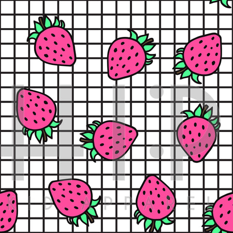 White Grid Strawberry Print - Custom Styles
