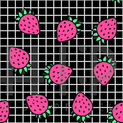Black Grid Strawberry Print - Custom Styles