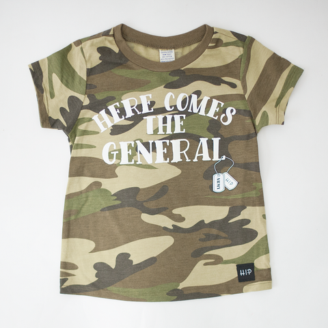 Here Comes the General - Camo Tee Shirt-Tee Shirts-Hip Kid Apparel-kids graphic t-shirts-kids graphic tees-modern kids clothes-trendy shirts for kids-unisex kids shirts-for-boys-girls