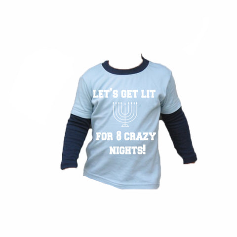 Chanukah Get Lit Toddler Tee Shirt *PREORDER - Light Blue and Navy Toddler Color Block Tee Shirt Long Sleeves