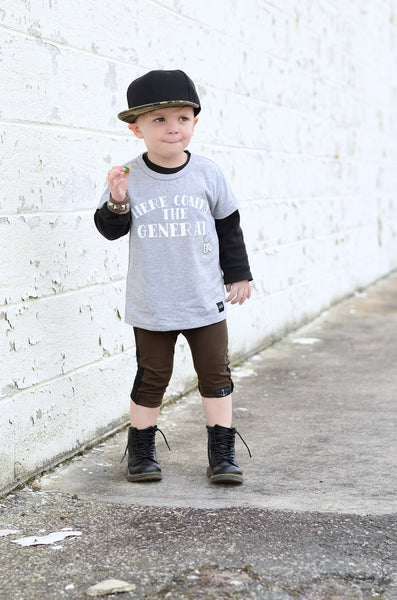 Here Comes the General - Grey Tee Shirt-Tee Shirts-Hip Kid Apparel-kids graphic t-shirts-kids graphic tees-modern kids clothes-trendy shirts for kids-unisex kids shirts-for-boys-girls