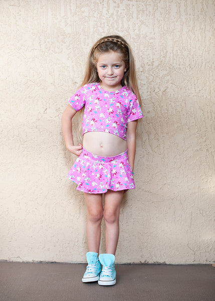 Pink Cat Skirted Bummies and Crop Top Set