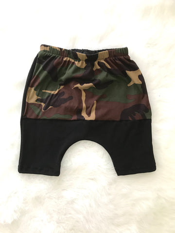 Color Block Harem Shorts - Camo/Black